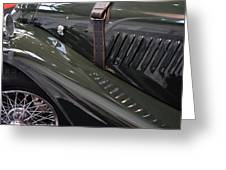 Detail Of Classical Green Vintage Car Hood. Greeting Card