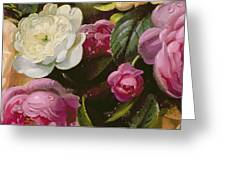 Detail Of Full Blown Roses Greeting Card