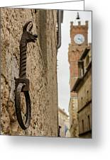 Detail Of Iron On A Wall Of Pienza, Tuscany, Italy Greeting Card