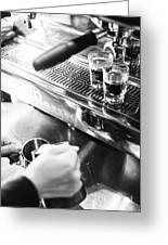 Detail Of Making Espresso Coffee With Machine Bw Greeting Card