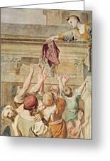 Detail Of Saint Cecilia Distributing Alms Greeting Card