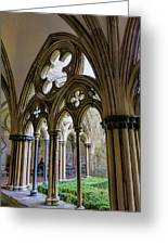 Detail Of Salisbury Cathedral Cloister  Greeting Card