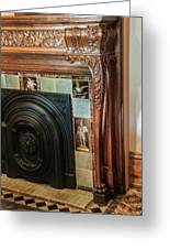 Detail Of Wood Carving And Tiles - Historic Fireplace Greeting Card
