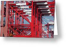 Detail View Of A Row Container Loading Cranes Greeting Card
