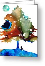 Determination - Colorful Cat Art Painting Greeting Card