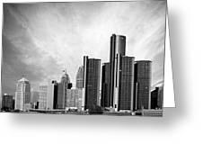 Detroit Black And White Skyline Greeting Card