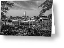 Detroit Lighthouse And Marina 3 Black And White  Greeting Card
