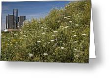 Detroit Renaissance Center And Queens Ann's Lace Greeting Card
