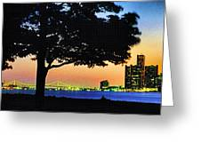 Detroit River View Greeting Card