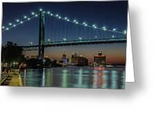 Detroit Riverside Sparkle Greeting Card