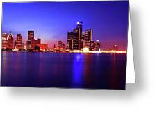Detroit Skyline 3 Greeting Card