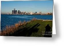Detroit Skyline And Shadow Greeting Card