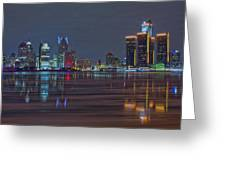 Detroit Skyline From Windsor In Hdr Greeting Card