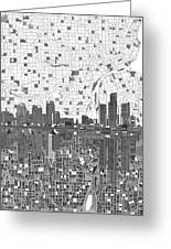 Detroit Skyline Map 5 Greeting Card