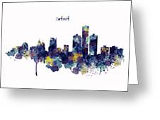 Detroit Skyline Silhouette Greeting Card