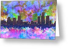 Detroit Skyline Watercolor 1 Greeting Card