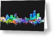 Detroit Skyline Watercolor 3 Greeting Card