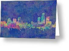 Detroit Skyline Watercolor Blue 3 Greeting Card