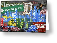 Detroit The Motor City Michigan License Plate Art Collage Greeting Card