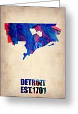 Detroit Watercolor Map Greeting Card