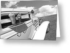 Deuce Coupe At The Drive-in Black And White Greeting Card