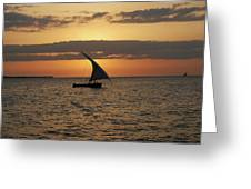 Dhow At Sunset Greeting Card
