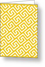 Diagonal Greek Key With Border In Mustard Greeting Card