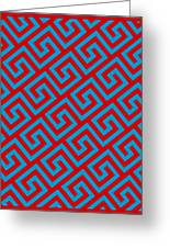 Diagonal Greek Key With Border In Red Greeting Card