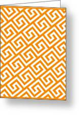 Diagonal Greek Key With Border In Tangerine Greeting Card