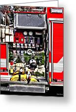 Dials And Hoses On Fire Truck Greeting Card