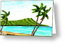 Diamond Head And Waikiki Beach #351 Greeting Card