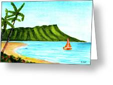 Diamond Head And Waikiki Beach Canoe #334 Greeting Card