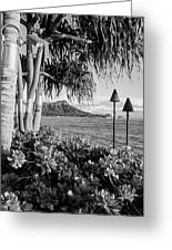 Diamond Head In Black And White Greeting Card