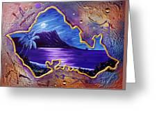 Diamond Head Moon Oahu #141 Greeting Card