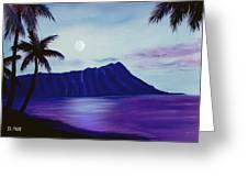 Diamond Head Moon Waikiki #34 Greeting Card