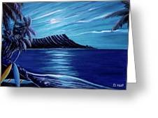 Diamond Head Moon Waikiki Beach #288 Greeting Card