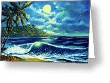 Diamond Head Moon Waikiki Beach #407 Greeting Card