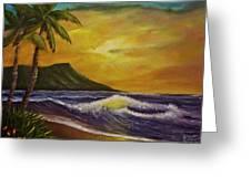 Diamond Head Sunrise Oahu #414 Greeting Card