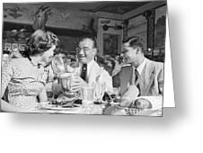 Diamond Jim Moran, Entertaining Guests At His Restaurant In New  Greeting Card