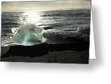 Diamond On Diamond Beach Black Sand Waves Clouds Iceland 2 2162018 1985.jpg Greeting Card
