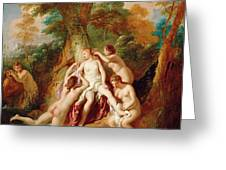 Diana And Her Nymphs Bathing Greeting Card