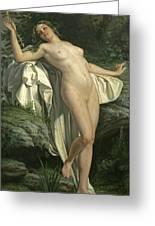 Diana At Her Bath Greeting Card