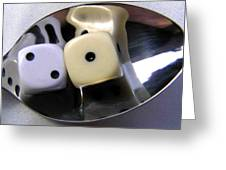 Dice In A Spoon Greeting Card