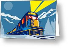 Diesel Train Winter Greeting Card by Aloysius Patrimonio
