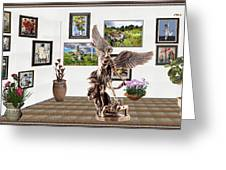 digital exhibition _  sculpture of a Angels and Demons  Greeting Card