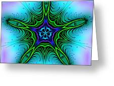 Digital Kaleidoscope Green Star 001 Greeting Card