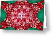 Digital Kaleidoscope Red-green-white 8 Greeting Card
