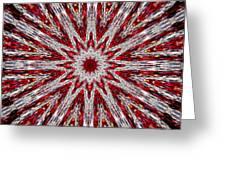 Digital Kaleidoscope Red-white 7 Greeting Card