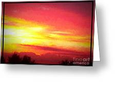 Digital Oil Painting Of Sunset Greeting Card