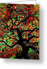 Digital Tree Impressionism Pixela Greeting Card